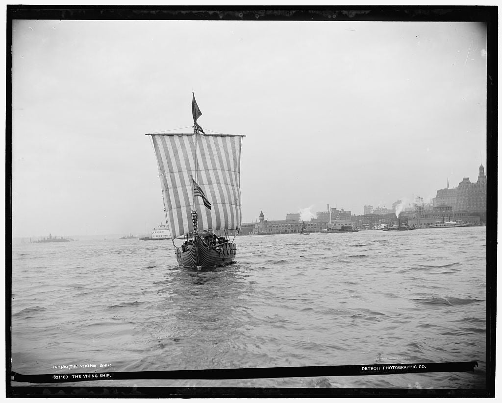 16 x 20 Gallery Wrapped Frame Art Canvas Print of The Viking ship 1893 Detriot Publishing co.  65a