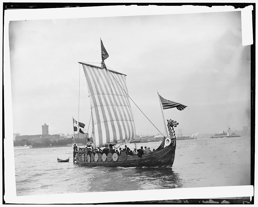 16 x 20 Gallery Wrapped Frame Art Canvas Print of The Viking ship 1893 Detriot Publishing co.  66a