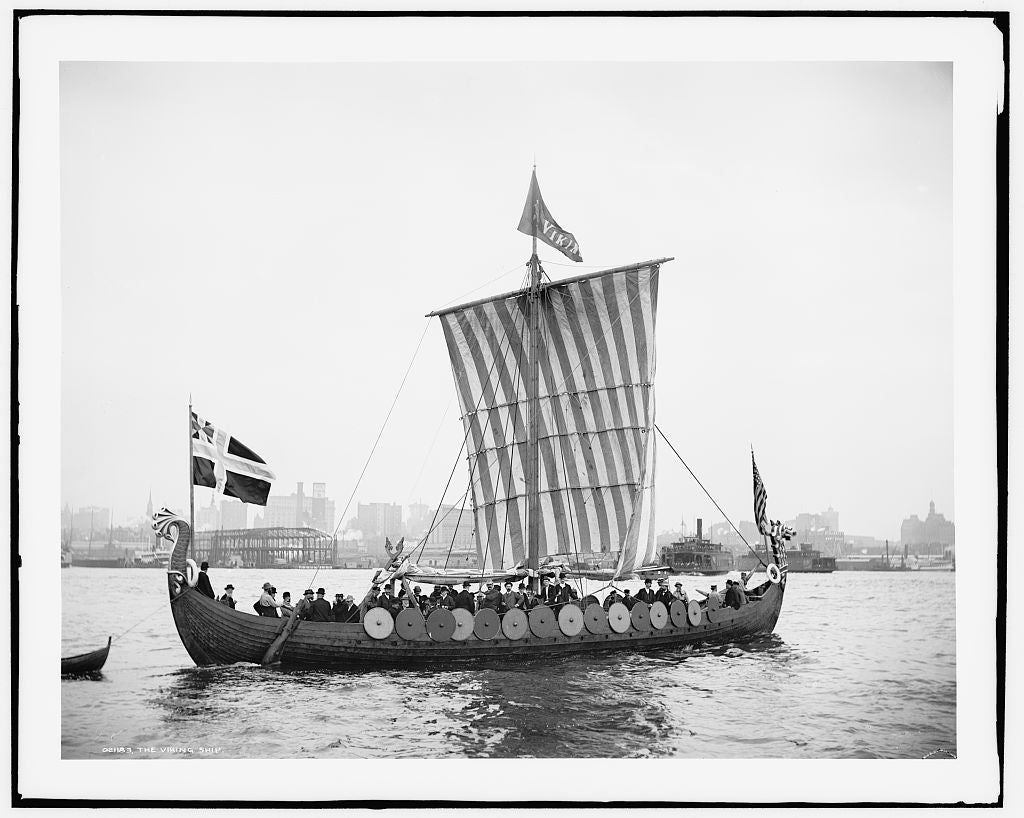 16 x 20 Gallery Wrapped Frame Art Canvas Print of The Viking ship 1893 Detriot Publishing co.  91a