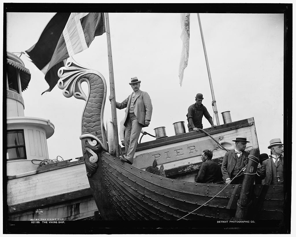 16 x 20 Gallery Wrapped Frame Art Canvas Print of The Viking ship 1893 Detriot Publishing co.  73a