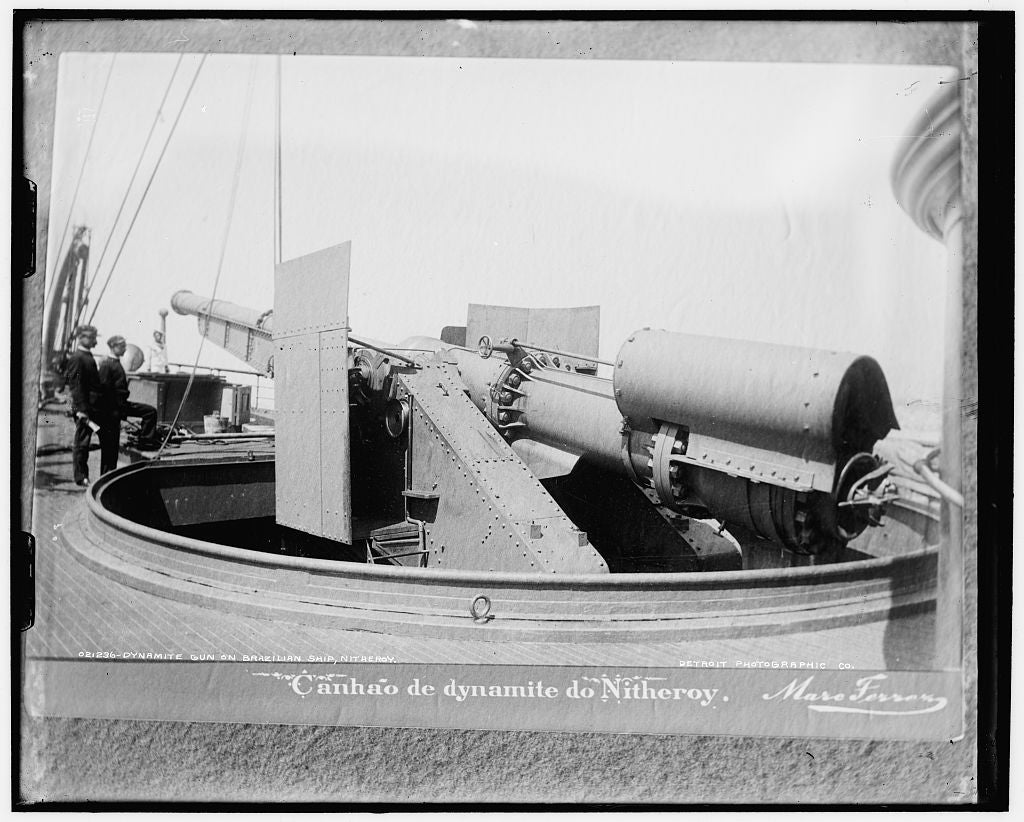 16 x 20 Gallery Wrapped Frame Art Canvas Print of Dynamite gun on Brazilian ship Nitheroy i e Nictheroy 1897 Detriot Publishing co.  06a