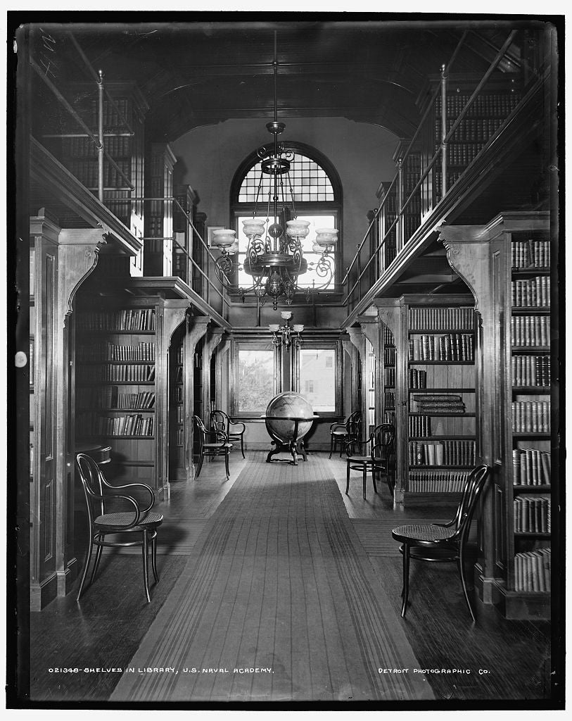16 x 20 Gallery Wrapped Frame Art Canvas Print of Shelves in library U S Naval Academy 1896 Detriot Publishing co.  25a