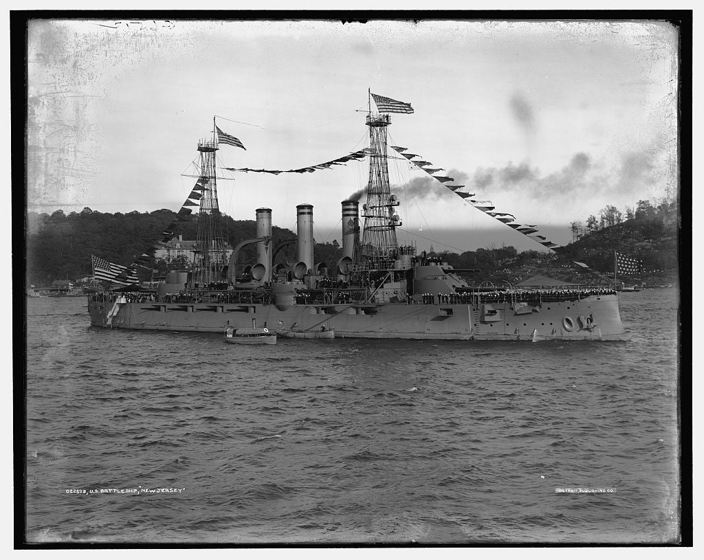 16 x 20 Gallery Wrapped Frame Art Canvas Print of U S battleship New Jersey 1909 Detriot Publishing co.  07a
