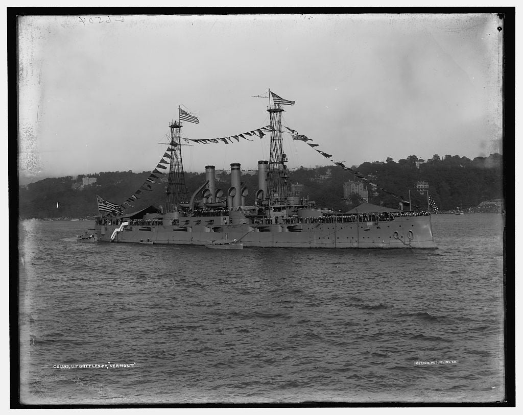 16 x 20 Gallery Wrapped Frame Art Canvas Print of U S battleship Vermont 1909 Detriot Publishing co.  98a