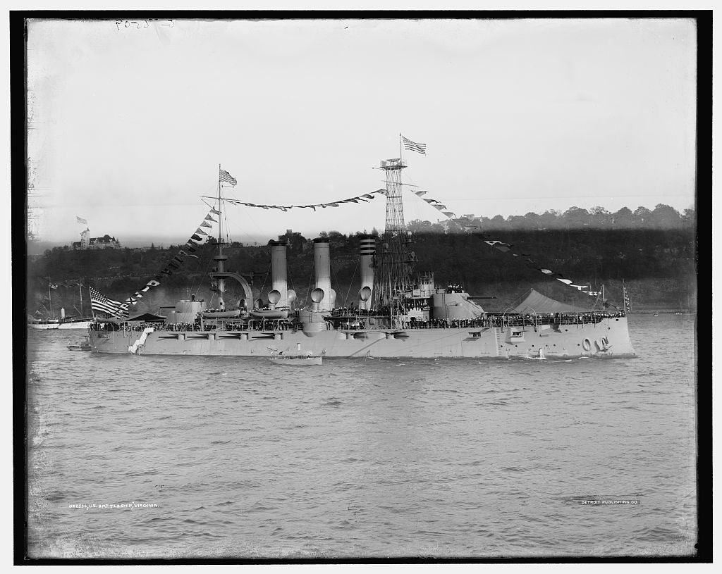 16 x 20 Gallery Wrapped Frame Art Canvas Print of U S battleship Virginia 1909 Detriot Publishing co.  47a