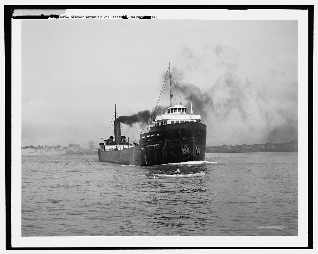16 x 20 Gallery Wrapped Frame Art Canvas Print of U S marine postal service Detroit River approaching freighter  1910 Detriot Publishing co.  96a