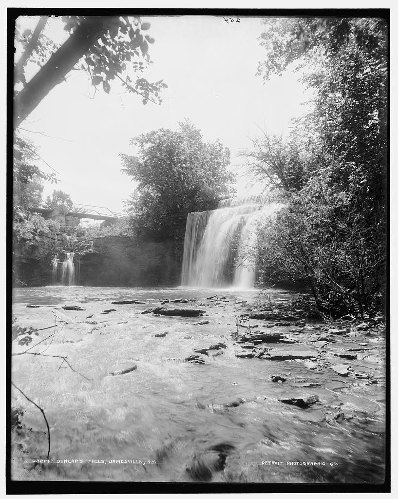 16 x 20 Gallery Wrapped Frame Art Canvas Print of Dunlap's Falls Jamesville N Y  1903 Detriot Publishing co.  96a