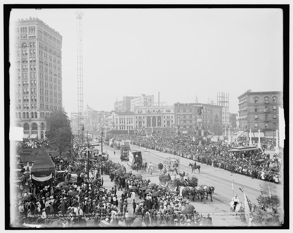16 x 20 Gallery Wrapped Frame Art Canvas Print of Floats in civic & industrial parade Detroit bi-centenary celebration 1901 Detriot Publishing co.  89a