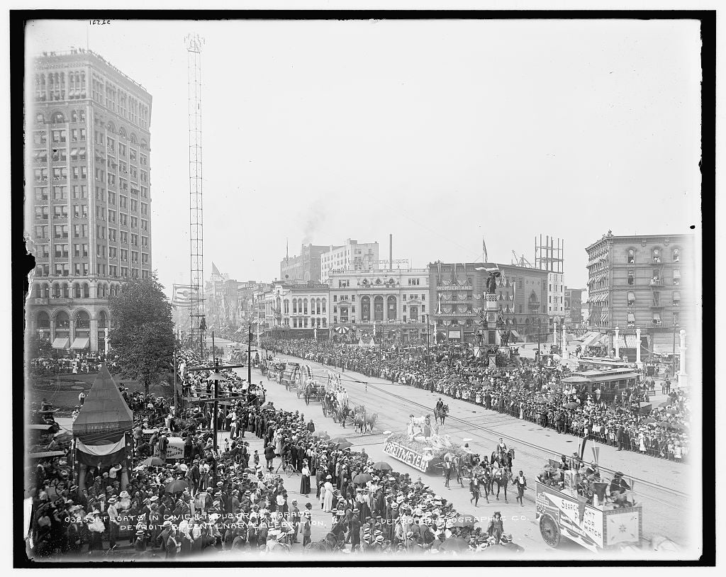 16 x 20 Gallery Wrapped Frame Art Canvas Print of Floats in civic & industrial parade Detroit bi-centenary celebration 1901 Detriot Publishing co.  79a