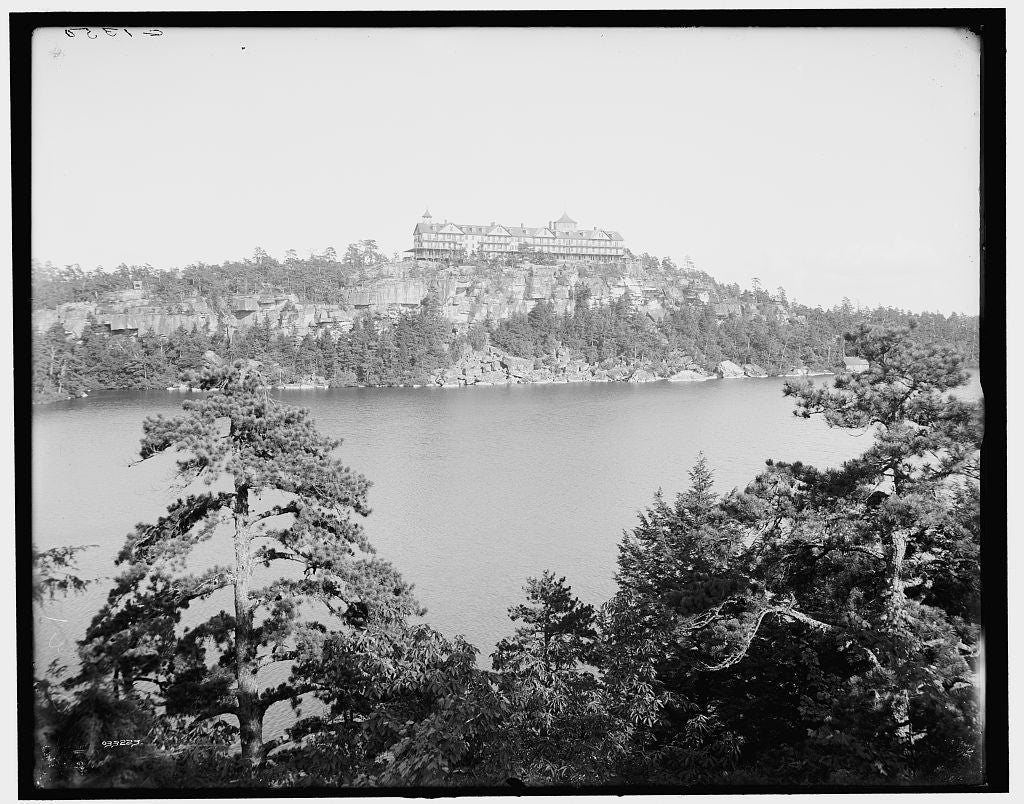 16 x 20 Gallery Wrapped Frame Art Canvas Print of Cliff House from across the lake Lake Minnewaska N Y  1903 Detriot Publishing co.  48a