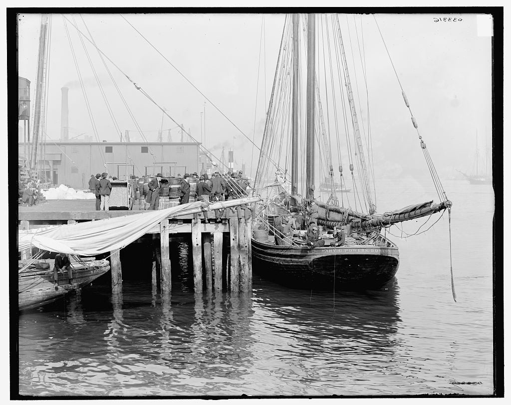 "16 x 20 Gallery Wrapped Frame Art Canvas Print of Fishing schooner at ""T"" wharf Boston Mass  1905 Detriot Publishing co.  55a"