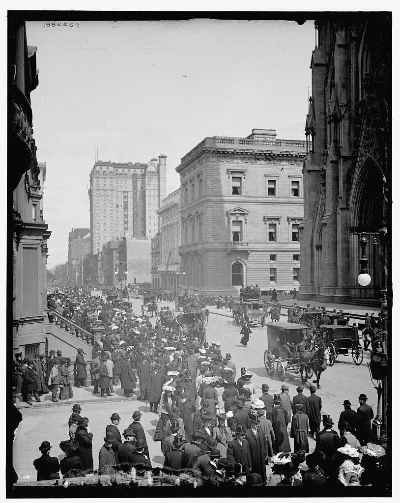 16 x 20 Gallery Wrapped Frame Art Canvas Print of Easter morning on Fifth Avenue New York N Y  1905 Detriot Publishing co.  48a
