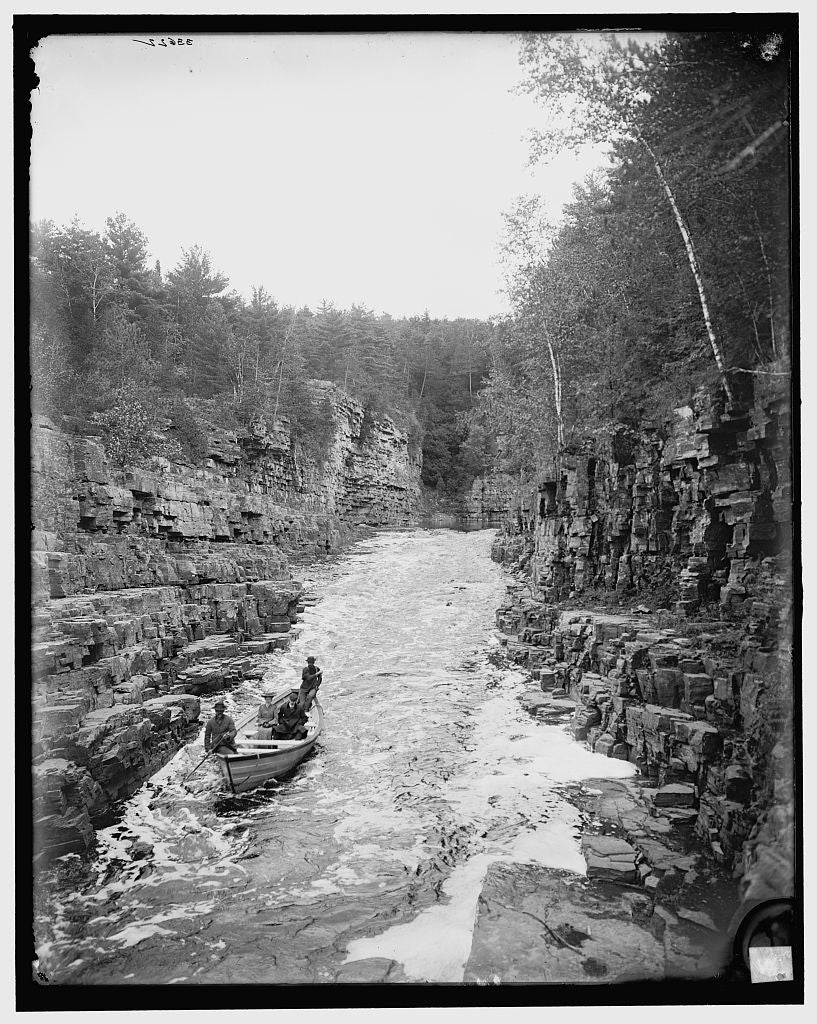 16 x 20 Gallery Wrapped Frame Art Canvas Print of Running the rapids high water Ausable Chasm N Y  1905 Detriot Publishing co.  66a
