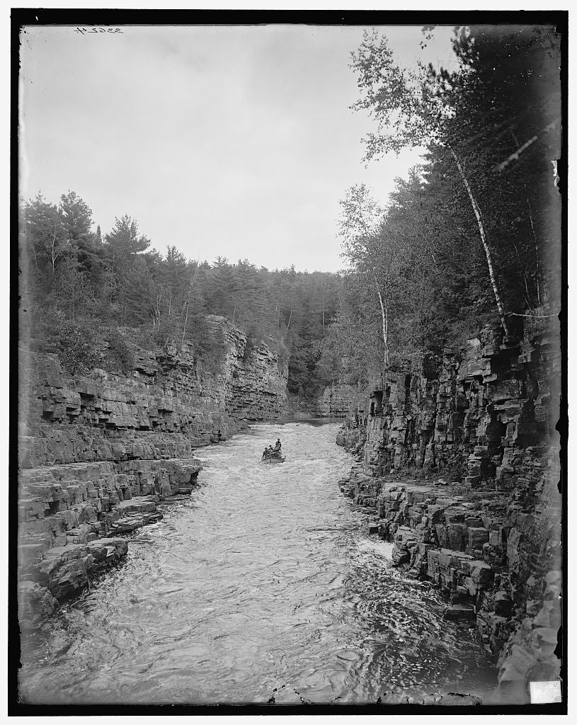 16 x 20 Gallery Wrapped Frame Art Canvas Print of Running the rapids Ausable Chasm N Y  1905 Detriot Publishing co.  54a