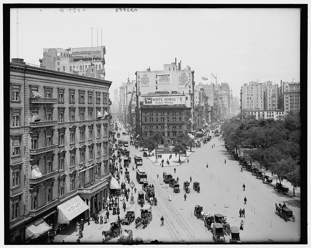 16 x 20 Gallery Wrapped Frame Art Canvas Print of Up Broadway and Fifth Avenue New York City 1905 Detriot Publishing co.  57a