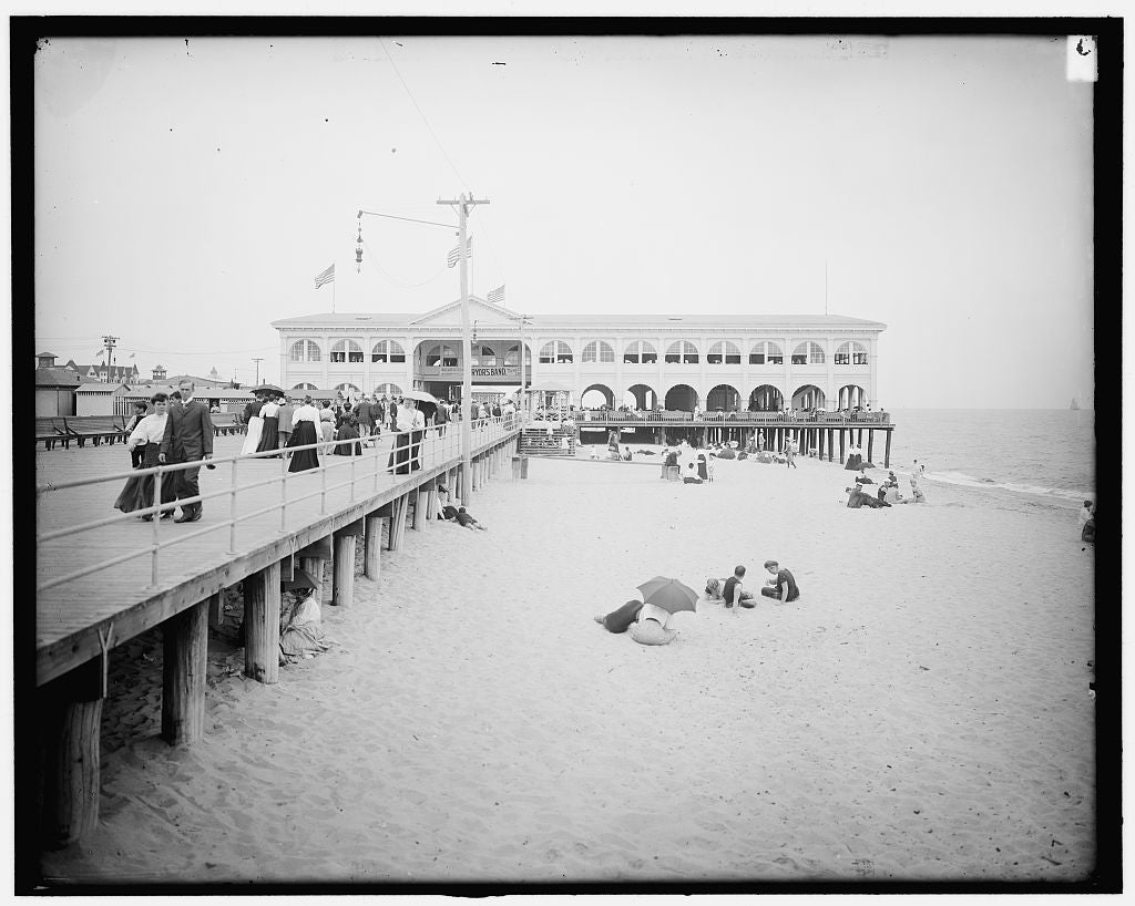 16 x 20 Gallery Wrapped Frame Art Canvas Print of The Arcade Asbury Park N J  1905 Detriot Publishing co.  28a