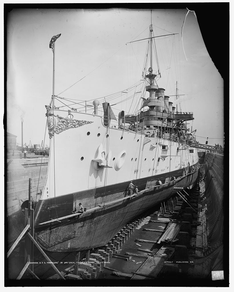 16 x 20 Gallery Wrapped Frame Art Canvas Print of U S S Maryland in dry dock Charlestown Navy Yard 1905 Detriot Publishing co.  59a