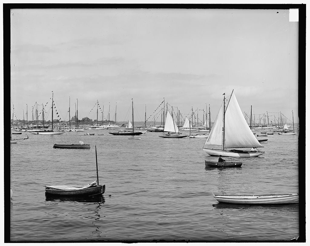 16 x 20 Gallery Wrapped Frame Art Canvas Print of Marblehead Mass New York Yacht Club 1900 Detriot Publishing co.  56a
