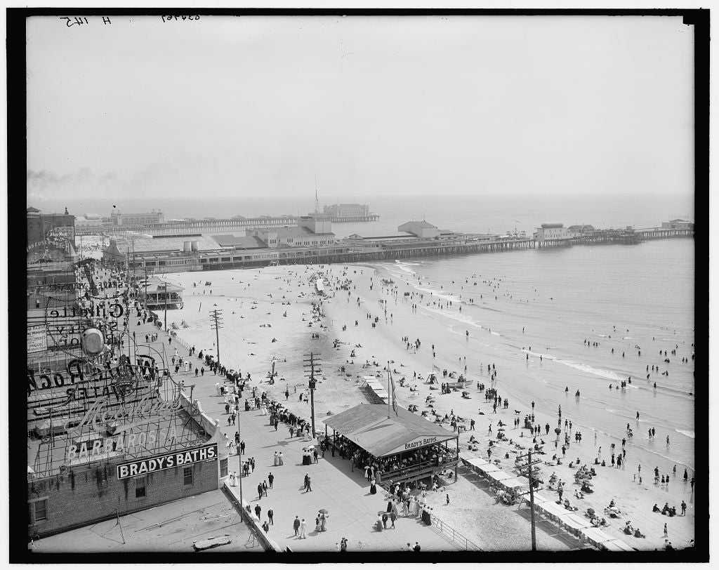 16 x 20 Gallery Wrapped Frame Art Canvas Print of Beach and boardwalk Atlantic City N J  1905 Detriot Publishing co.  23a