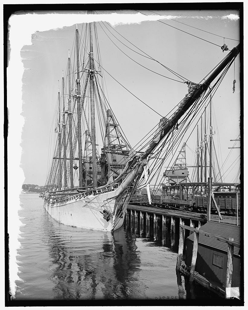16 x 20 Gallery Wrapped Frame Art Canvas Print of Schooner Paul Palmer unloading coal Portsmouth N H  1906 Detriot Publishing co.  70a