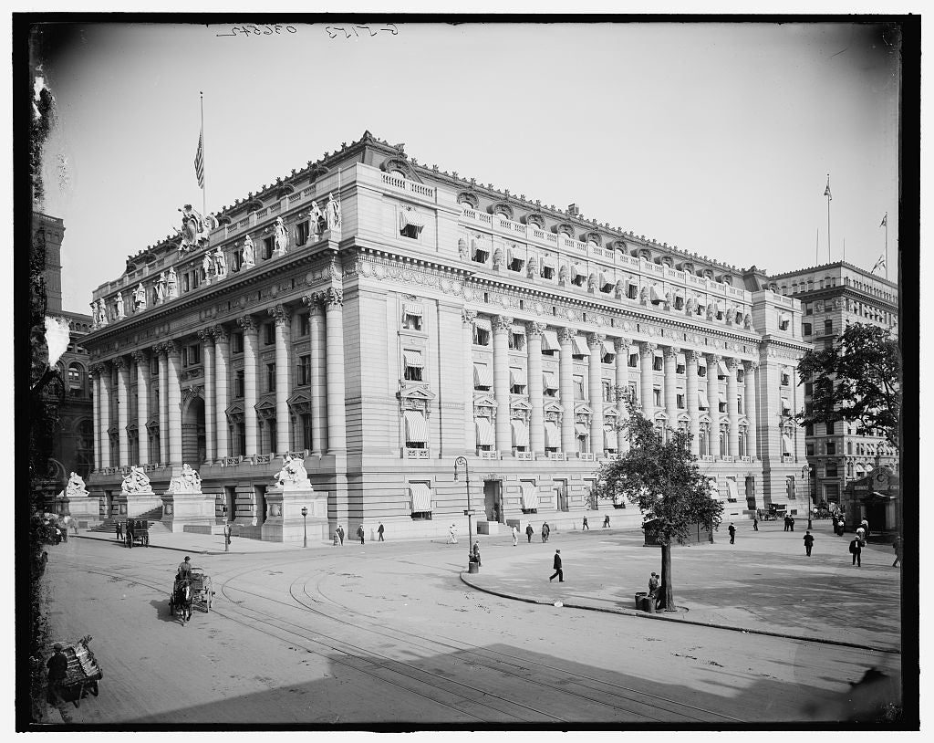 16 x 20 Gallery Wrapped Frame Art Canvas Print of U S Custom House New York N Y  1913 Detriot Publishing co.  98a
