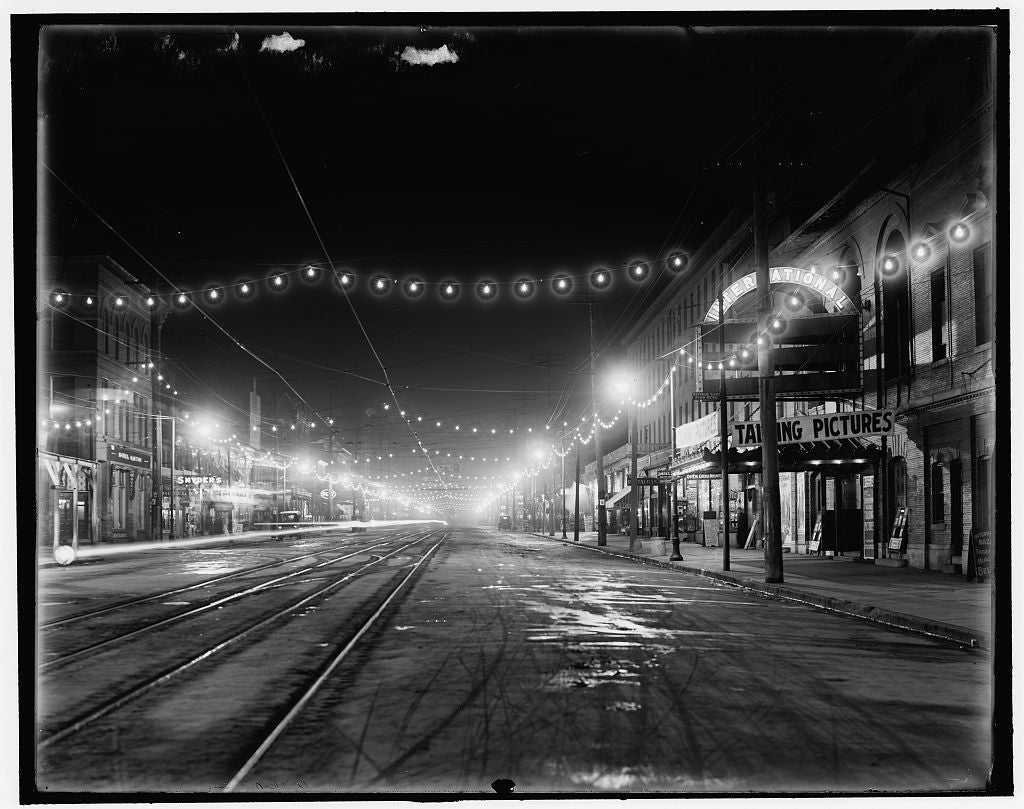 16 x 20 Gallery Wrapped Frame Art Canvas Print of Niagara Falls N Y Falls Street at night 1905 Detriot Publishing co.  29a