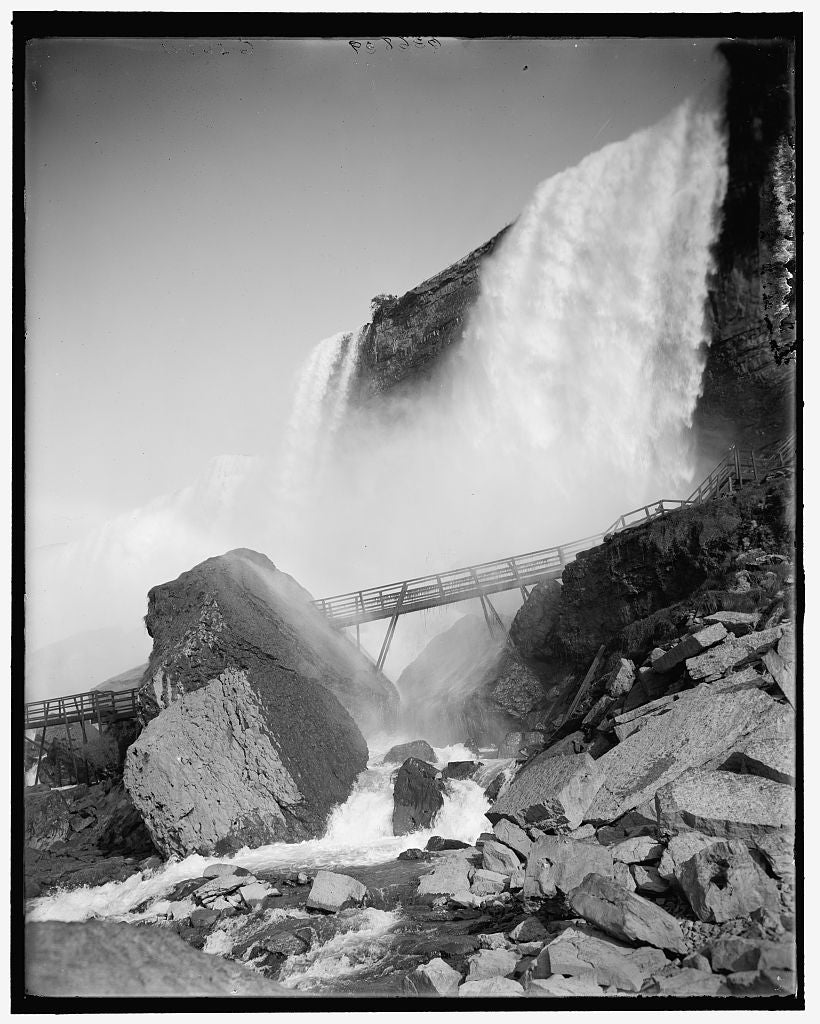 16 x 20 Gallery Wrapped Frame Art Canvas Print of Rock of Ages and Cave of the Winds American Falls Niagara Falls N Y  1913 Detriot Publishing co.  99a