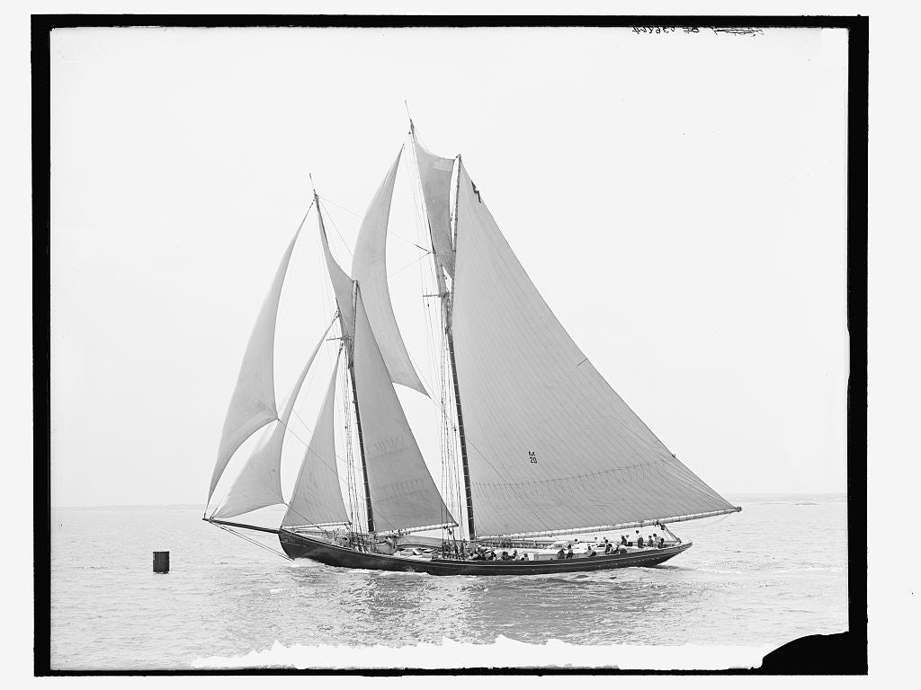 "16 x 20 Gallery Wrapped Frame Art Canvas Print of Fishing smacks i e schooner- ""Jessie Costa"" rounding buoy off Minot's Light 1907 Detriot Publishing co.  18a"