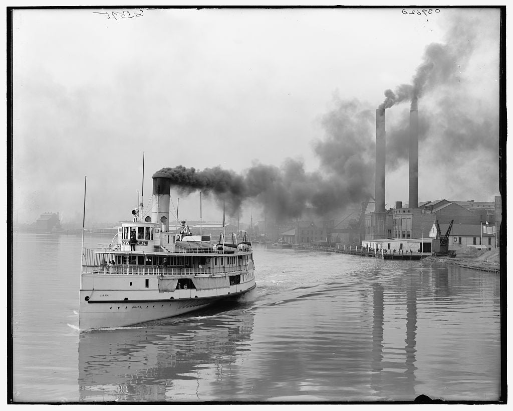 16 x 20 Gallery Wrapped Frame Art Canvas Print of Toledo Ohio Str Owana leaving for Detroit 1905 Detriot Publishing co.  57a