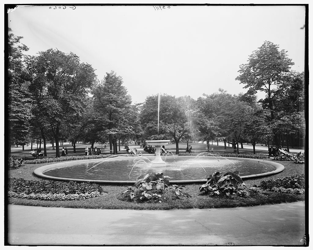 16 x 20 Gallery Wrapped Frame Art Canvas Print of Fountain East Park Pittsburgh Pa  1908 Detriot Publishing co.  16a