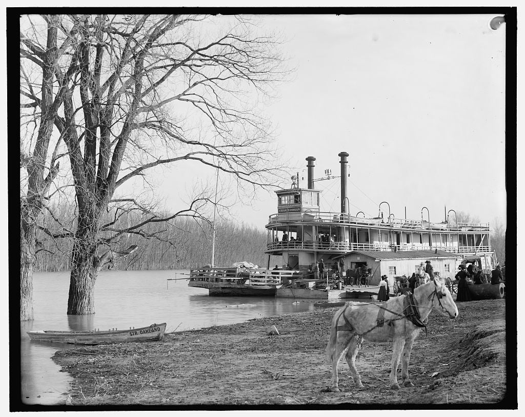 16 x 20 Gallery Wrapped Frame Art Canvas Print of River packet Chas H Organ landing at Mound City Memphis Tenn  1902 Detriot Publishing co.  28a