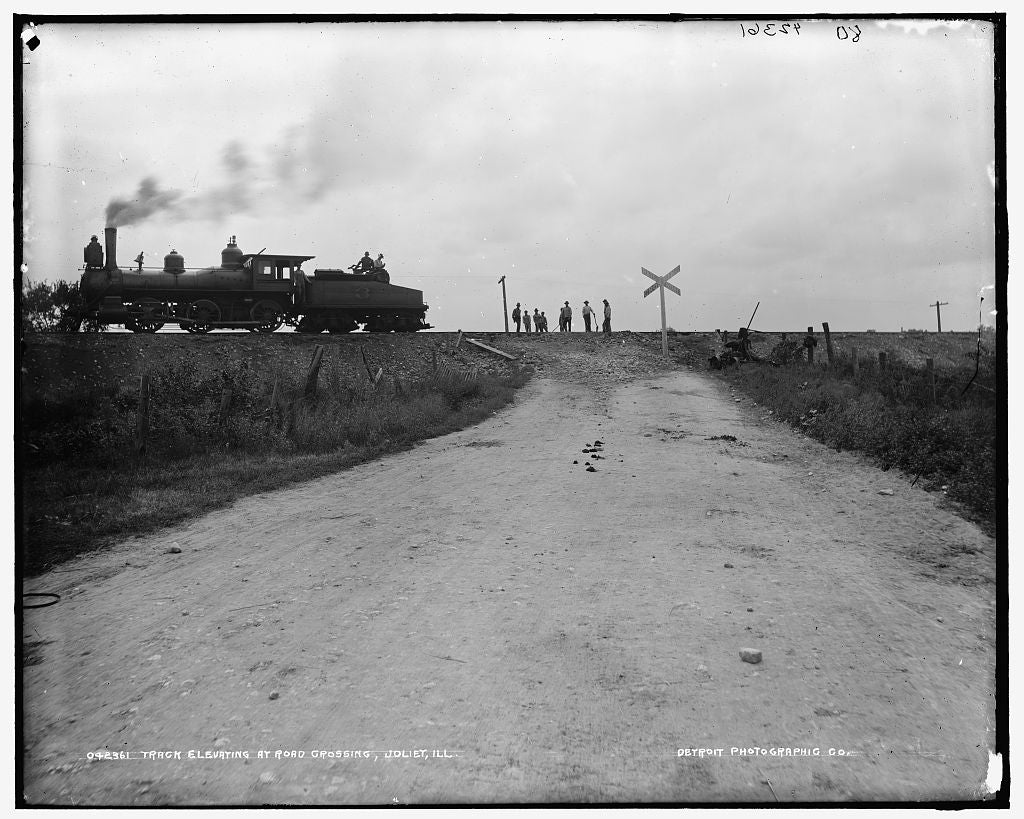 16 x 20 Gallery Wrapped Frame Art Canvas Print of Track elevating at road crossing Joliet Ill  1903 Detriot Publishing co.  78a