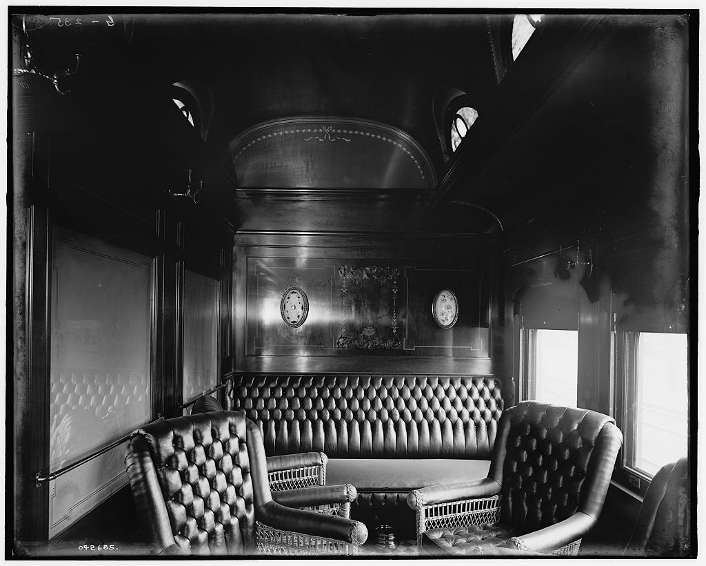 16 x 20 Gallery Wrapped Frame Art Canvas Print of Pere Marquette Railroad parlor car no 25 smoking room 1905 Detriot Publishing co.  92a