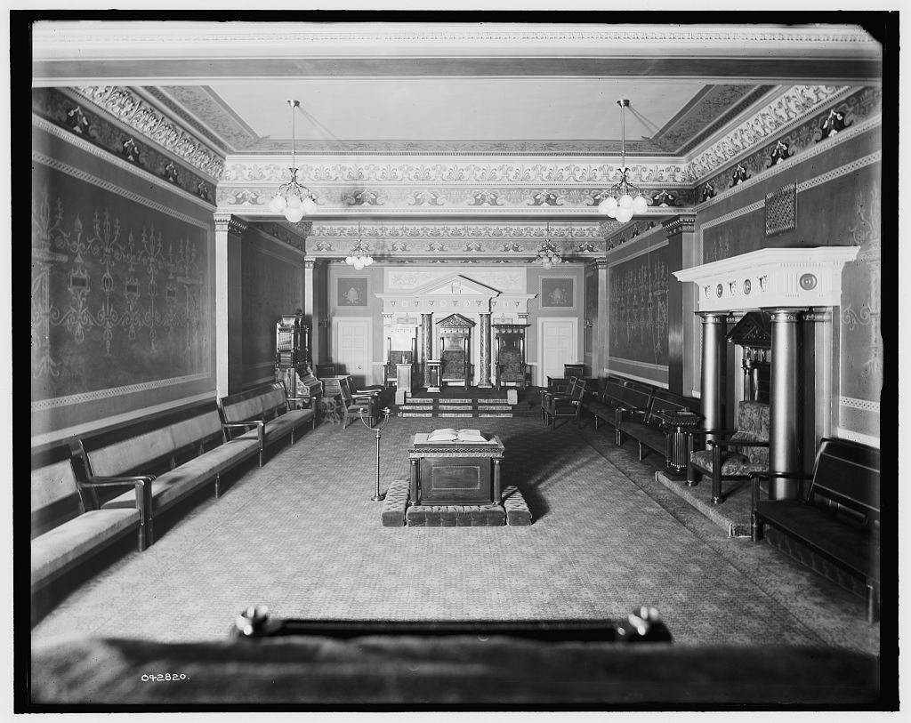 16 x 20 Gallery Wrapped Frame Art Canvas Print of East Blue Lodge Room Masonic Temple Detroit 1905 Detriot Publishing co.  29a