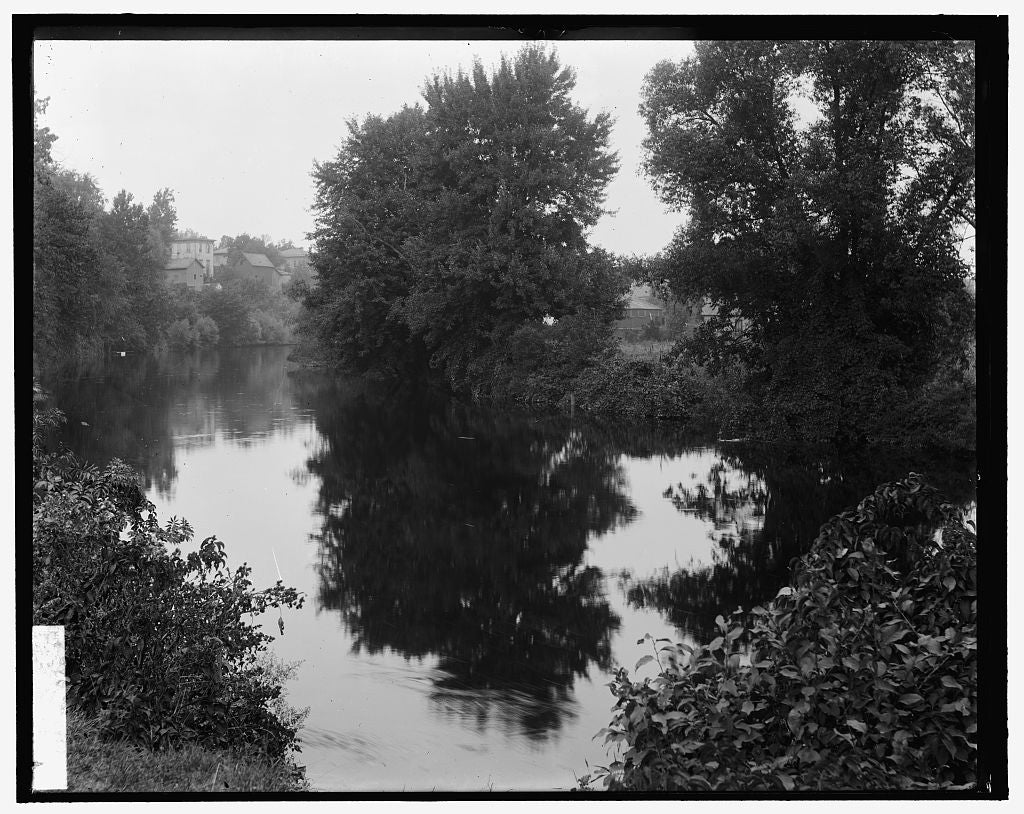 16 x 20 Gallery Wrapped Frame Art Canvas Print of River with buildings in background probably the Huron River Ypsilanti Michigan 1905 Detriot Publishing co.  60a