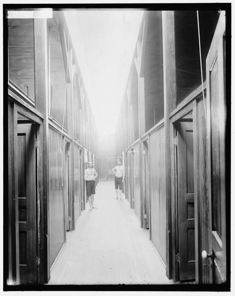 16 x 20 Gallery Wrapped Frame Art Canvas Print of Two men in corridor probably the Ypsilanti mineral bath house Ypsilanti Michigan 1905 Detriot Publishing co.  85a