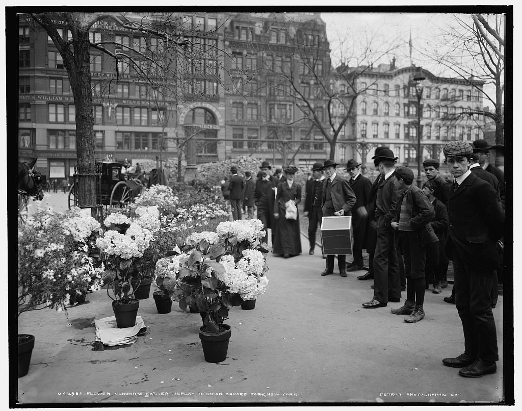 16 x 20 Gallery Wrapped Frame Art Canvas Print of Flower vender's sic Easter display in Union Square Park New York 1905 Detriot Publishing co.  88a