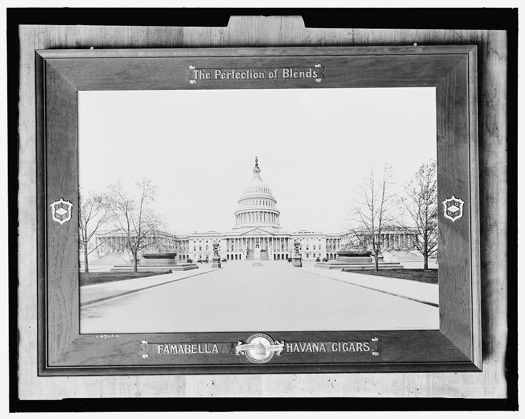 16 x 20 Gallery Wrapped Frame Art Canvas Print of The United States Capitol at Washington; Famabella Havana cigars 1905 Detriot Publishing co.  41a