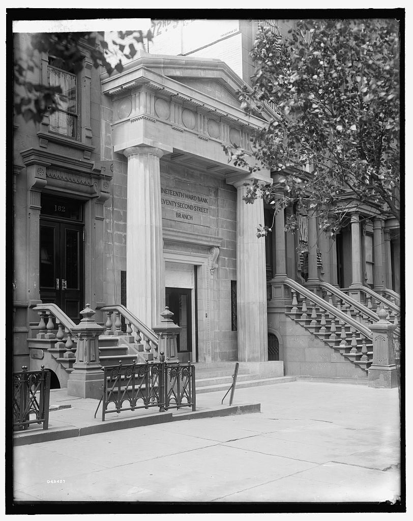16 x 20 Gallery Wrapped Frame Art Canvas Print of Seventy-second Street branch 19th Ward Bank entrance side view New York N Y  1908 Detriot Publishing co.  97a