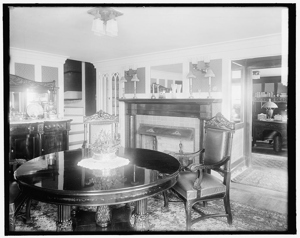 16 x 20 Gallery Wrapped Frame Art Canvas Print of  Calloway residence interior round table Mamaroneck N Y  1900 Detriot Publishing co.  86a
