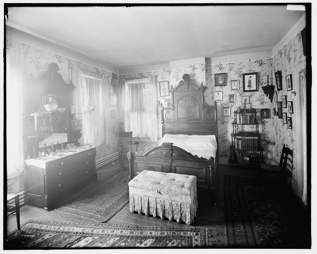 16 x 20 Gallery Wrapped Frame Art Canvas Print of Douglas residence bedroom with bureau & bookshelves Detroit Mich  1908 Detriot Publishing co.  42a