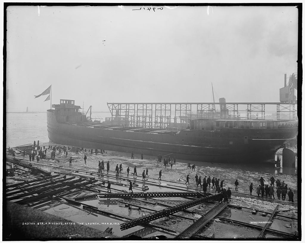 16 x 20 Gallery Wrapped Frame Art Canvas Print of  Str F P Jones after the launch  1913 Detriot Publishing co.  41a