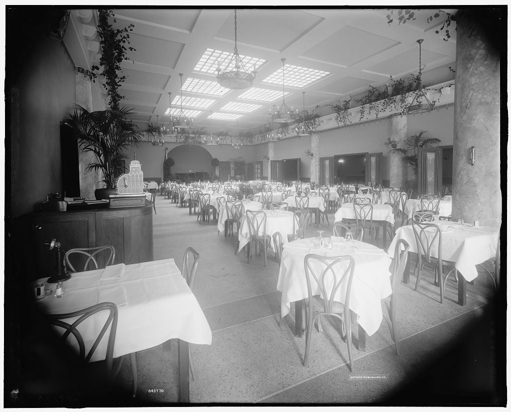 16 x 20 Gallery Wrapped Frame Art Canvas Print of Edelweiss Cafe main dining room front entrance Detroit Mich  1913 Detriot Publishing co.  91a