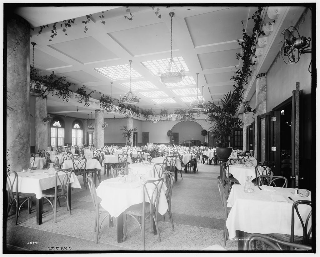 16 x 20 Gallery Wrapped Frame Art Canvas Print of Edelweiss Cafe main dining room from southwest corner Detroit Mich  1913 Detriot Publishing co.  36a