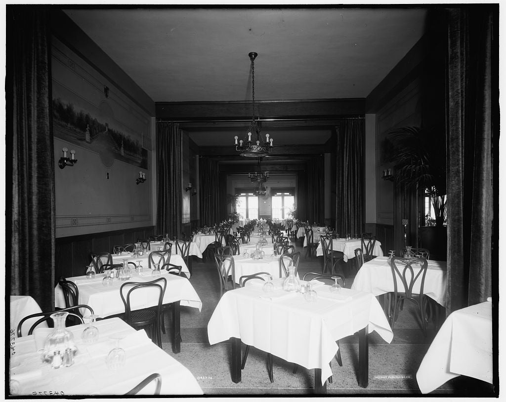 16 x 20 Gallery Wrapped Frame Art Canvas Print of Edelweiss Cafe banquet room Detroit Mich  1905 Detriot Publishing co.  02a