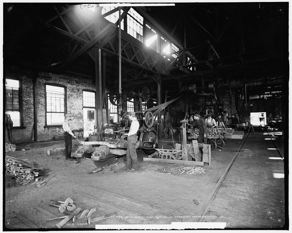 16 x 20 Gallery Wrapped Frame Art Canvas Print of Blacksmith shop Merchants' Despatch Transportation Co Company  1900 Detriot Publishing co.  54a