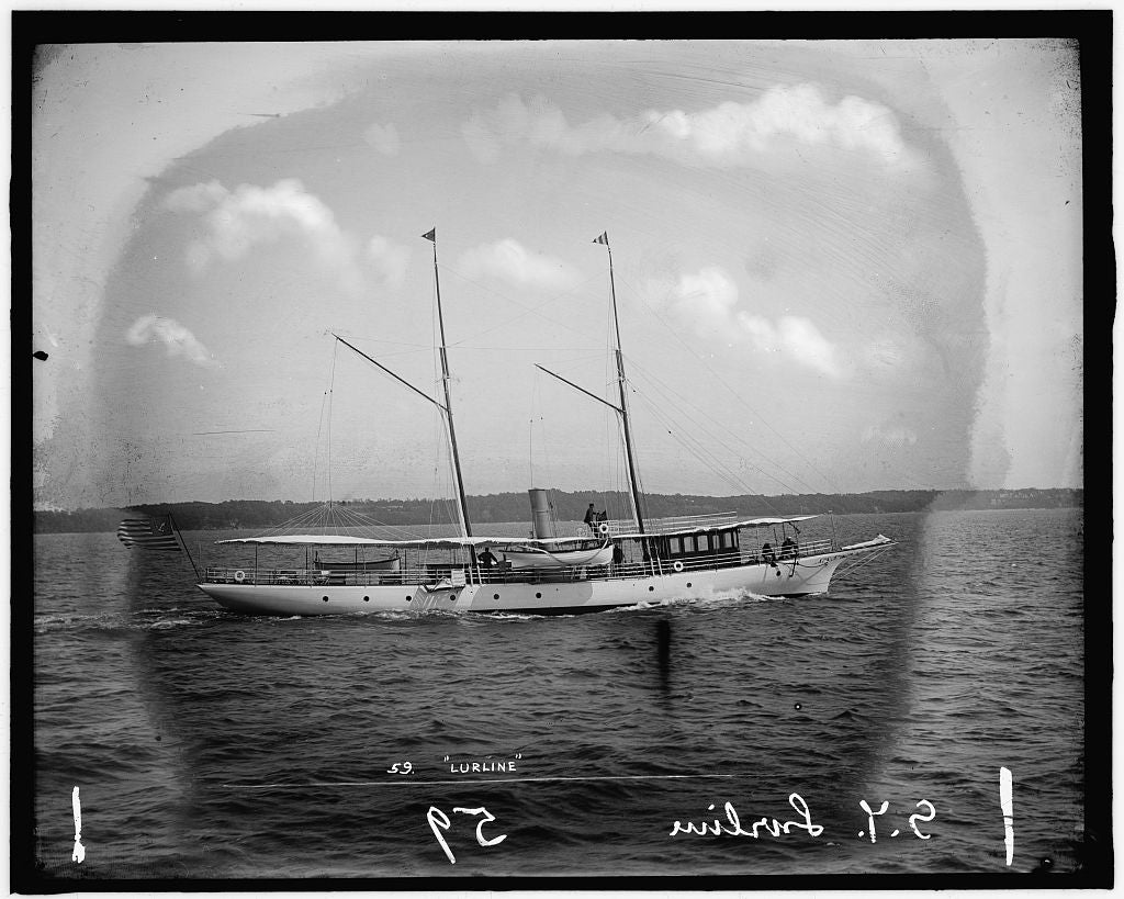 16 x 20 Gallery Wrapped Frame Art Canvas Print of S Y Steam yacht Lurline 1895 Detriot Publishing co.  48a