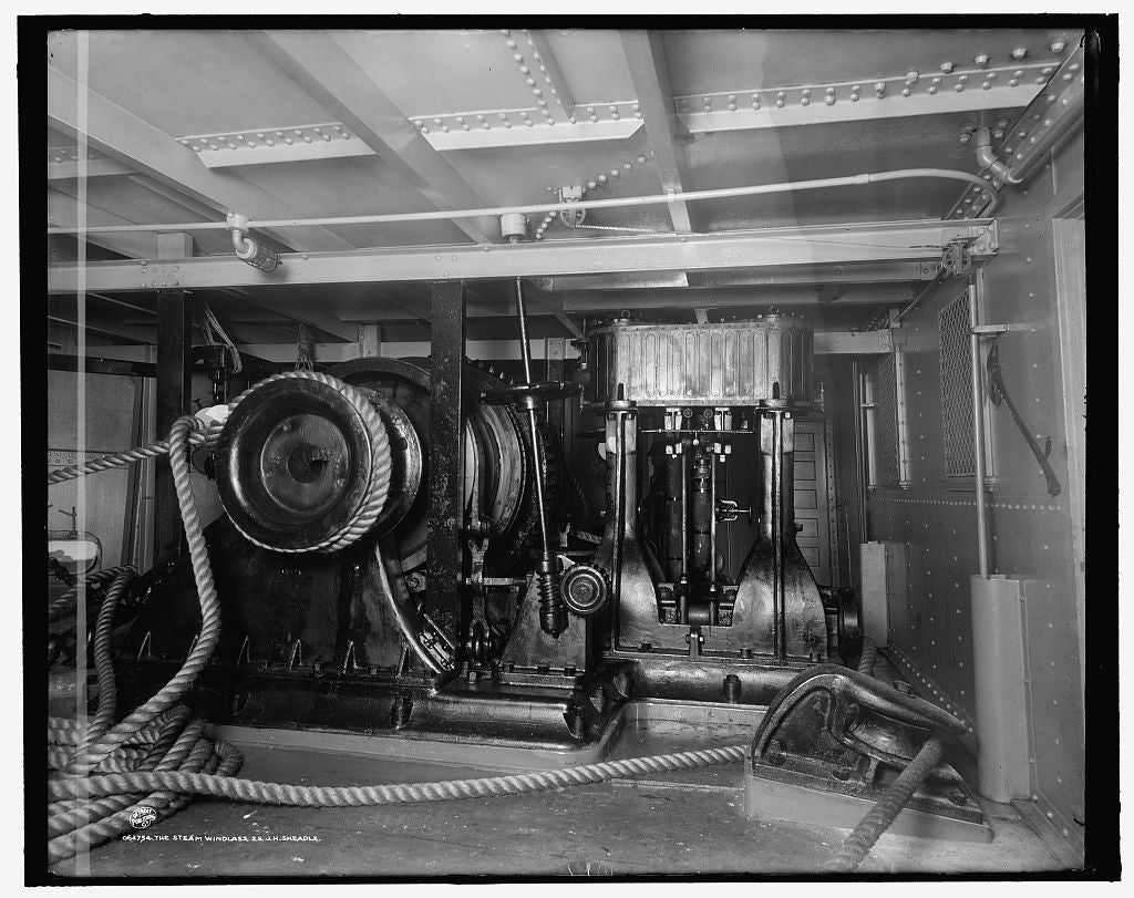 16 x 20 Gallery Wrapped Frame Art Canvas Print of The Steam windlass S S J H Sheadle 1908 Detriot Publishing co.  41a