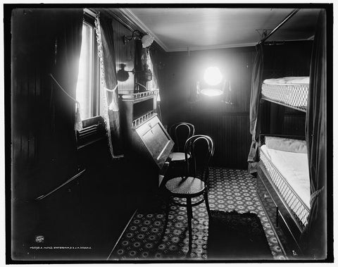 16 x 20 Gallery Wrapped Frame Art Canvas Print of  A Mate's stateroom S S J H Sheadle  1906 Detriot Publishing co.  93a