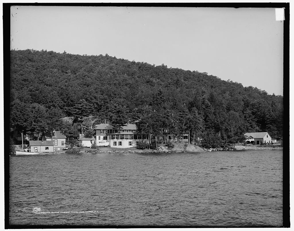 16 x 20 Gallery Wrapped Frame Art Canvas Print of  Island Harbor House Lake George N Y  1900 Detriot Publishing co.  25a
